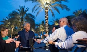 US secretary of defense Chuck Hagel speaks with reporters after reading a statement on chemical weapon use in Syria during a news conference in Abu Dhabi.