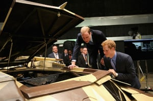 Royal Warner Bros: Prince William and Prince Harry at the 'Tumbler', a batmobile vehicle used
