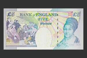 Elizabeth Fry on the current £5 note