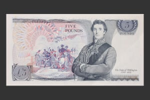 The Duke of Wellington pictured on the November 1971 £5 note