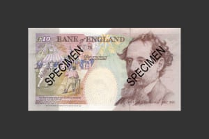 Charles Dickens on the April 1992 £10 note