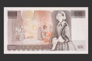 Florence Nightingale pictured on the 1975 £10 note