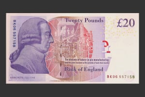 Adam Smith appears on the current £20 note, from March 2007