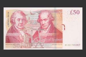 Matthew Boulton and James Watt shared the new £50 note, from November 2011
