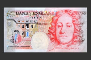 Banknotes: Sir John Houblon pictured on the April 1994 £50 note