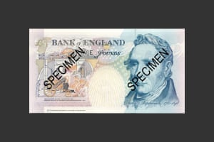 George Stephenson pictured on the June 1990 £5 note