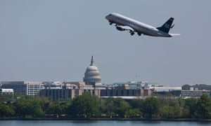 A US Airways Express flight takes off from National Airport in Arlington, Virginia