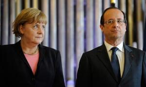 France's president François Hollande with the German chancellor, Angela Merkel