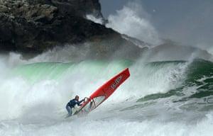 best of the week: Former British Wind Surfing Champion Timo Mullen surfs at Bragar beach