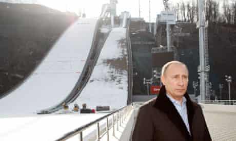 Vladimir Putin visits the 'RusSki Gorki' Jumping Centte at the Krasnaya Polyana resort near Sochi