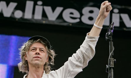 Sir Bob Geldof, wearing a Make Poverty History wristband at the Live 8 concert in Hyde Park, in 2005