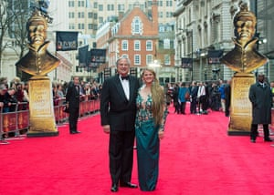 Laurence Olivier Awards: Top Hat producers Bonnie Comley (R) and Stewart F. Lane  walk the red carpe