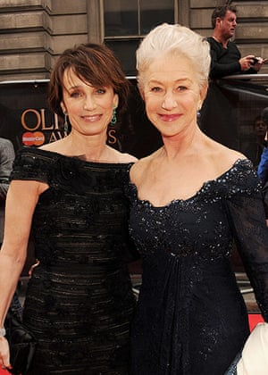 Laurence Olivier Awards: Kristin Scott Thomas (L) with Dame Helen Mirren