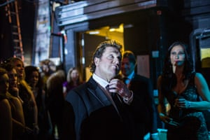 Laurence Olivier Awards: Michael Ball straightens his collar backstage at The Olivier Awards