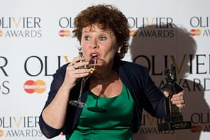 Laurence Olivier Awards: Imelda Staunton poses for photographers after winning the prize for best actress in a musical