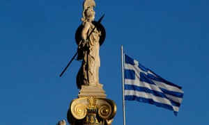A Greek national flag next to a statue of Athena