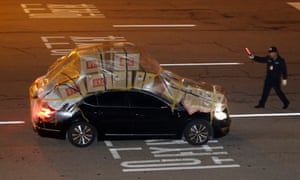 A South Korean car loaded with goods brought back from the Kaesong industrial complex in North Korea