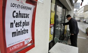"""A local paper headline reads """"Cahuzac is no longer minister"""", on March 20, 2013 in southwestern France. Cahuzac resigned yesterday after prosecutors announced a probe into a Swiss bank account he allegedly used to hide assets from the tax authorities."""