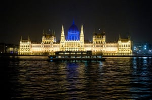 World Autism Day: The dome of the Parliament building on the bank of River Danube, Budapest,