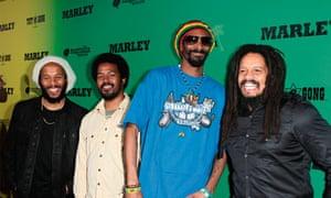 Ziggy Marley, Robbie Marley, Snoop and Rohan Marley at the Marley film premiere in LA