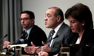 Chairman of the Hellenic Federation of Enterprises Dimitris Daskalopoulos (centre)  discusses the Cypriot crisis at a news conference today. Photograph:  EPA/Alkis Konstantinidis
