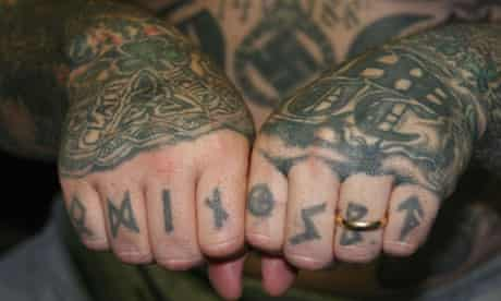 Tattoos of an Aryan Brotherhood gang member, in Texas