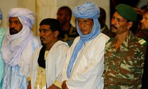 MALIAN MEDIATOR TUAREG CHIEF AG GHALI ATTENDS A CEREMONY FOR RELEASED TOURISTS IN BAMAKO.