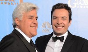 Jay Leno, left, will hand over NBC's Tonight Show to Jimmy Fallon.
