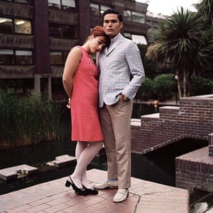 big pic - mods : man and woman dressed in mod clothing in front of barbican
