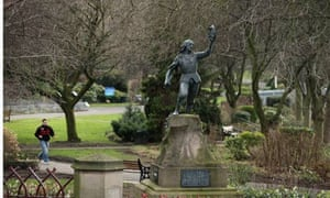 A statue of King Richard III stands in Castle Gardens near Leicester Catherdral