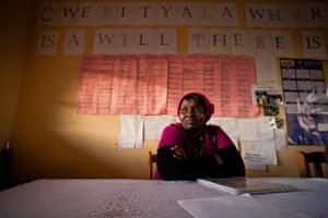 Eastern Cape Schools: A teacher sits in a newly built staffroom at a rural school, Gwebityala, wh