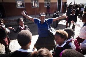 Eastern Cape Schools: Sindiwe Magona plays with schoolchildren at Ntapane Junior Secondary School
