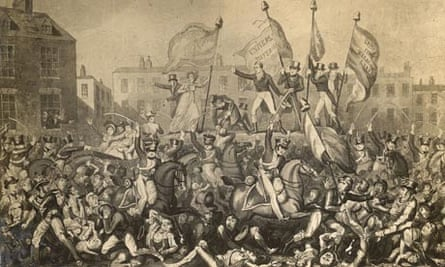 Yeomantry charge at crowds protesting for the right to vote, Manchester, 16 August 1819