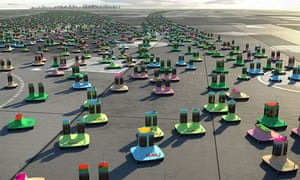 Digitarians … Digicars glide on an endless plane of tarmac along the most economical routes