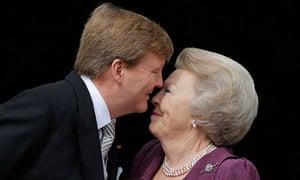 Dutch King Willem-Alexander kisses his mother Princess Beatrix