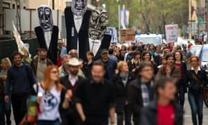 People take part in a demonstration gathering thousands on April 27, 2013 in central Ljubljana to protest against corruption and austerity measures in Slovenia. Photograph:  AFP/Getty Images/Jure Makovec