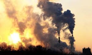 Smoke from factory chimneys