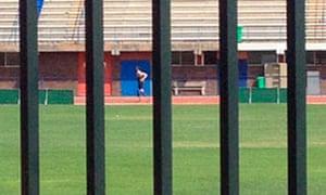 Oscar Pistorius photographed on the athletics track at Pretoria University