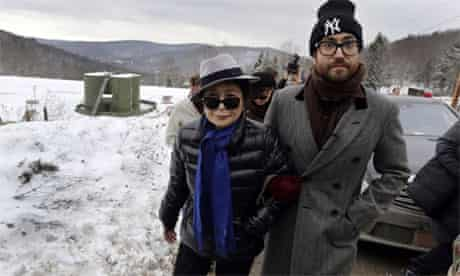 Yoko Ono and her son Sean Lennon visit a fracking site