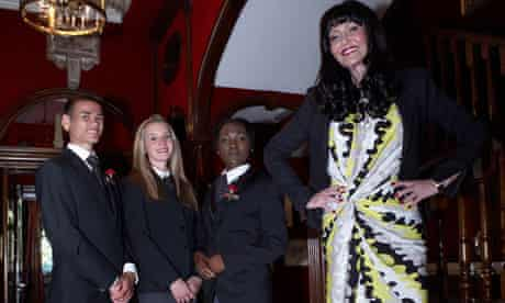 Hilary Devey and contestants in The Intern