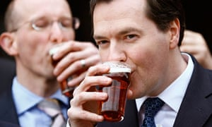 George Osborne drinks a beer during a visit to Marston's Brewery