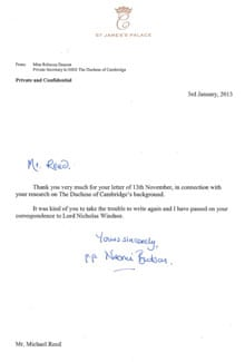 Letter of appreciation from from St James's Palace