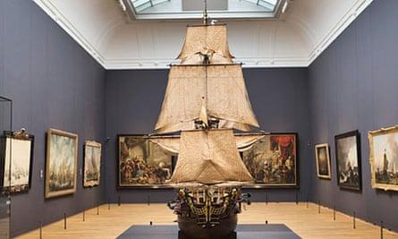 Model of 74-gun Dutch battleship William Rex displayed in 17th century gallery of the Rijksmuseum