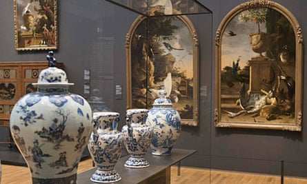 Delftware vases are on display in the 17th century gallery of the Rijksmuseum in Amsterdam