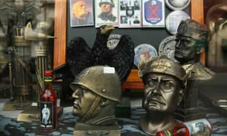 Fascist souvenirs in a souvenir shop in Predappio, Italy.