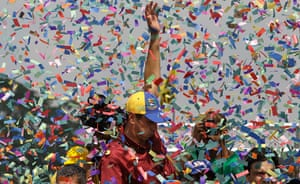 Capriles election rally : Capriles election rally in Caracas in pictures