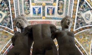 Sculptures of three women are displayed in the piccolomini library of Siena cathedral. Following lengthy restoration, visitors will be able to see a series of rooms that have never been open to the public.