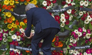 Here U.S. Secretary of State John Kerry places a wreath from the US at the Yad Vashem memorial during Holocaust Remembrance Day in Jerusalem, today.