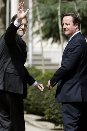 Spanish Prime Minister, Mariano Rajoy and his British counterpart, David Cameron, go for a walk through La Moncloa Palace's gardens before their meeting in Madrid, Spain, today.