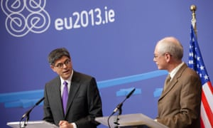 U.S. Treasury Secretary Jacob Lew, left, and European Council President Herman Van Rompuy participate in a media conference at EU headquarters in Brussels on Monday, April 8, 2013.